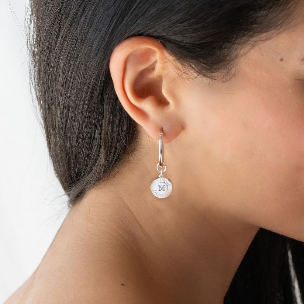 Odeion Initial Earrings in Sterling Silver - 1