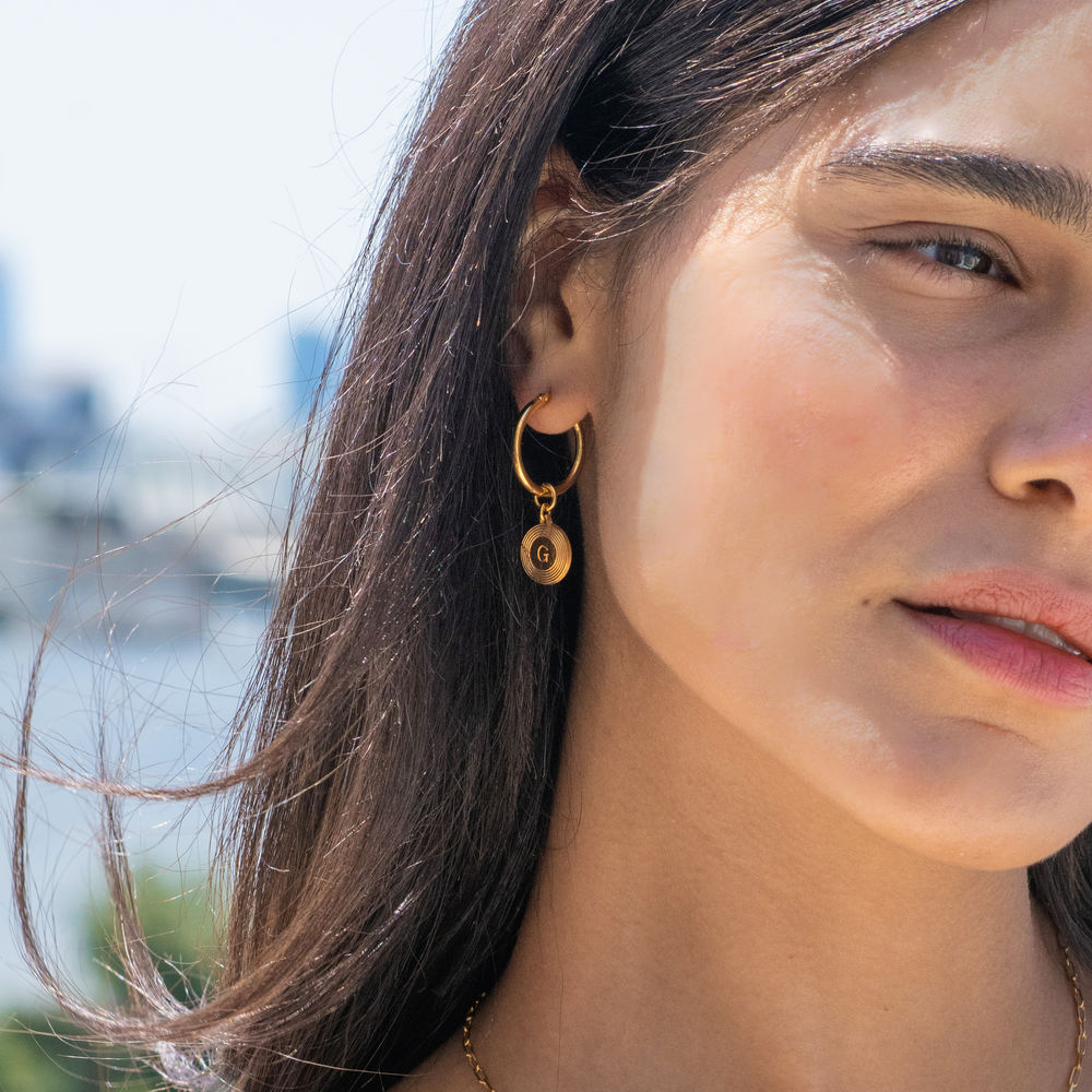 Odeion Initial Earrings in 18K Gold Plating - 1