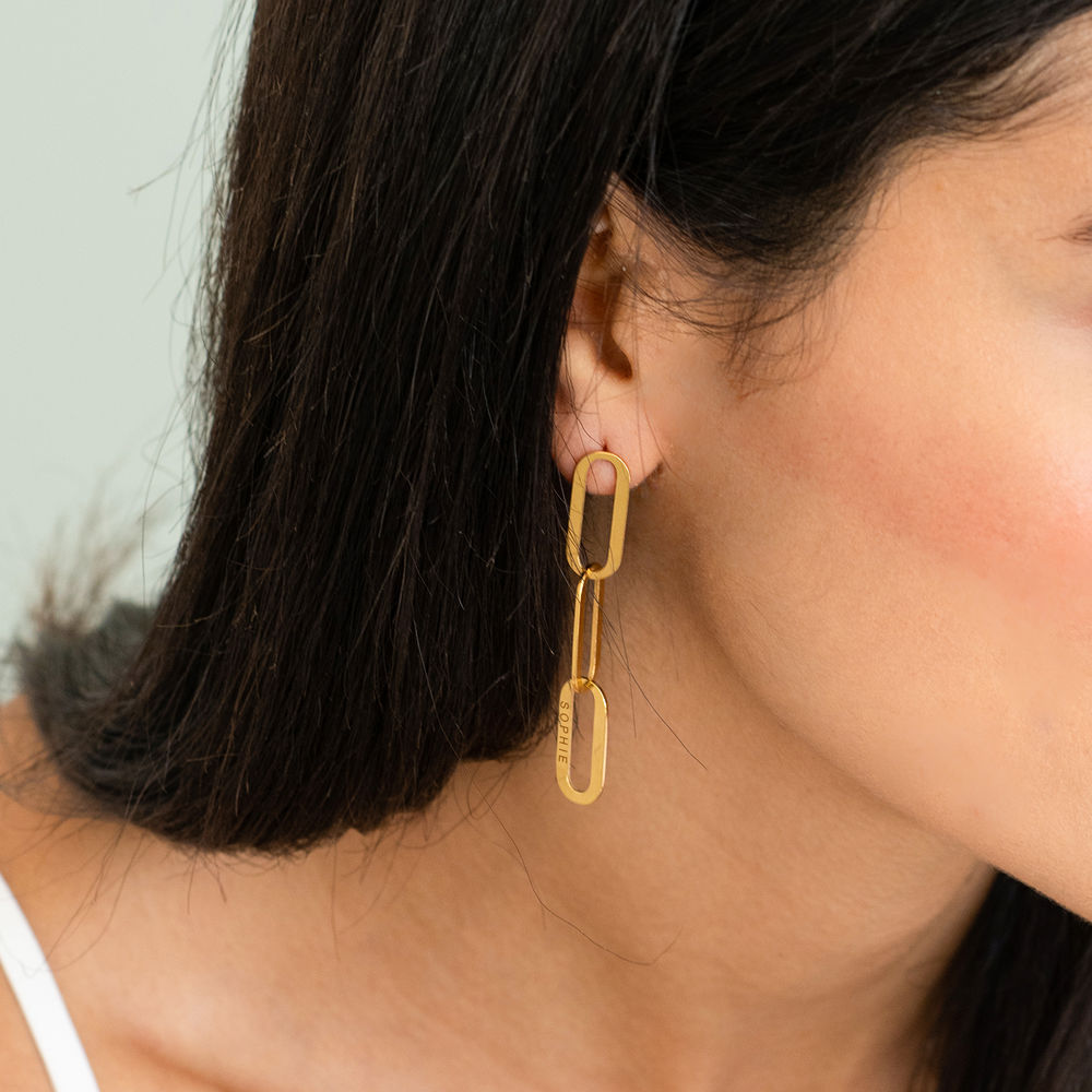 Aria Link Chain Earrings in 18K Gold Plating - 1