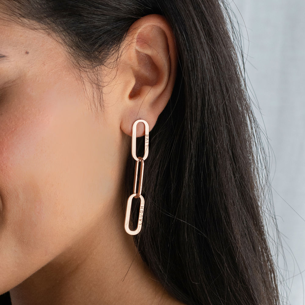 Aria Link Chain Earrings in 18K Rose Gold Plating - 1
