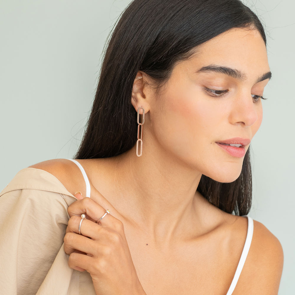 Aria Link Chain Earrings in 18K Rose Gold Plating - 2