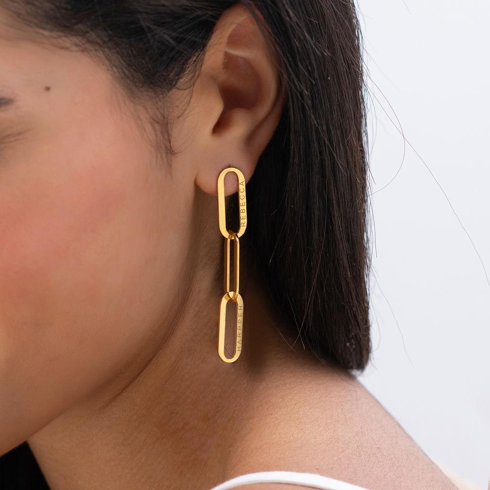 Aria Link Chain Earrings in Vermeil - 1