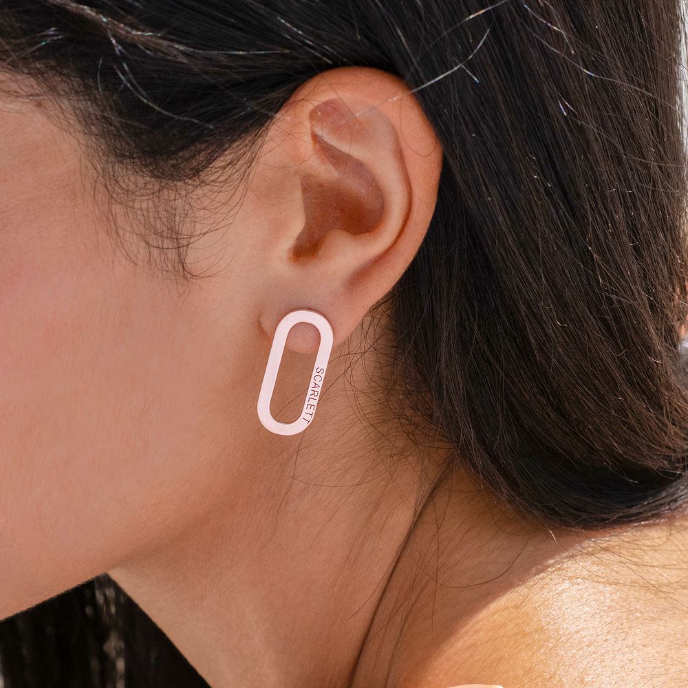 Aria single Chain Link Earrings with Engraving in Rose Gold Plating - 1