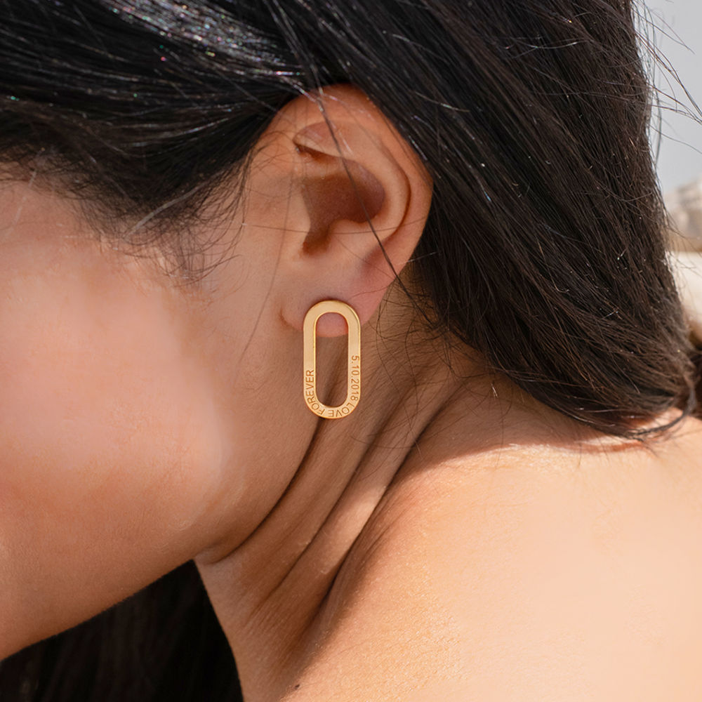 Aria single Chain Link Earrings with Engraving in Vermeil - 1