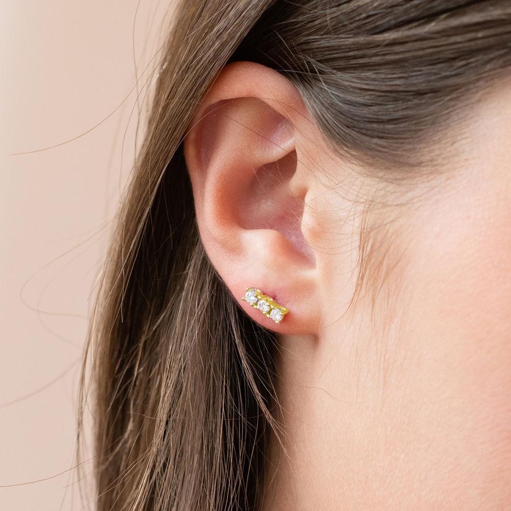 Cubic zirconia stud earrings in gold plating - 1