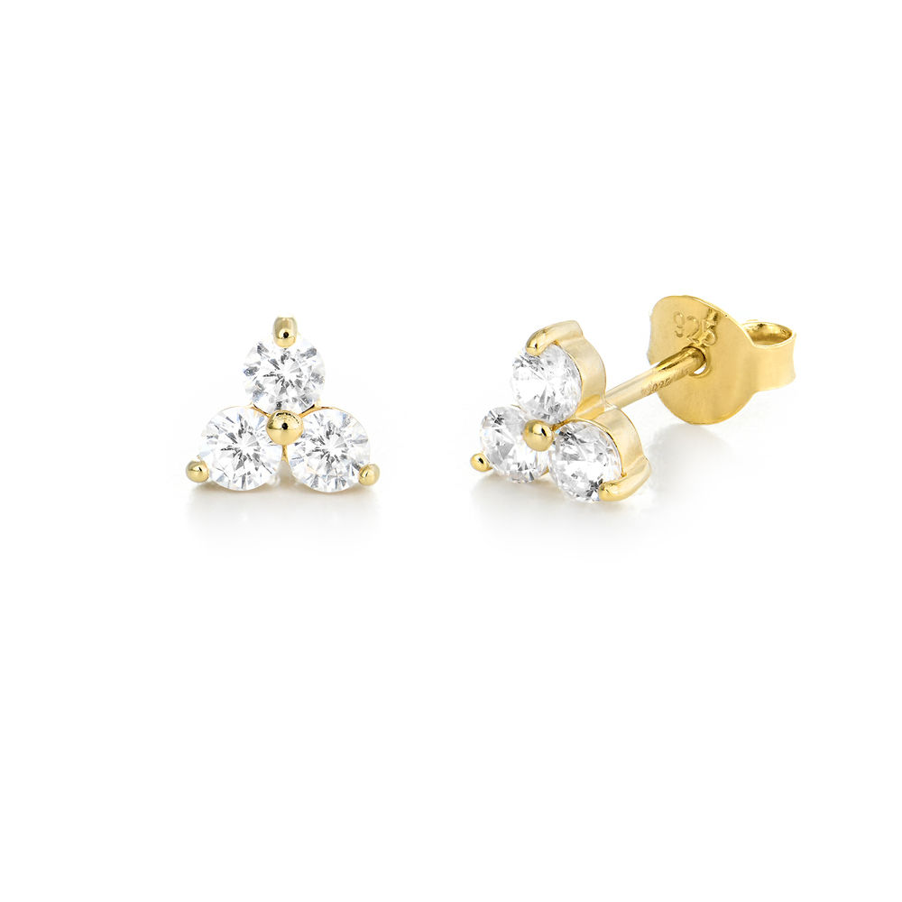 Flower stud earrings with cubic zirkonia in gold plating