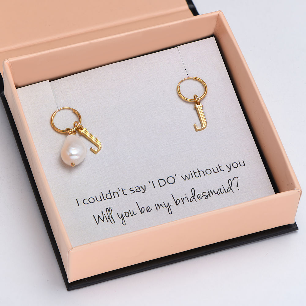 Down the Aisle - Pearl & Initial Earrings in 18k Gold Plating
