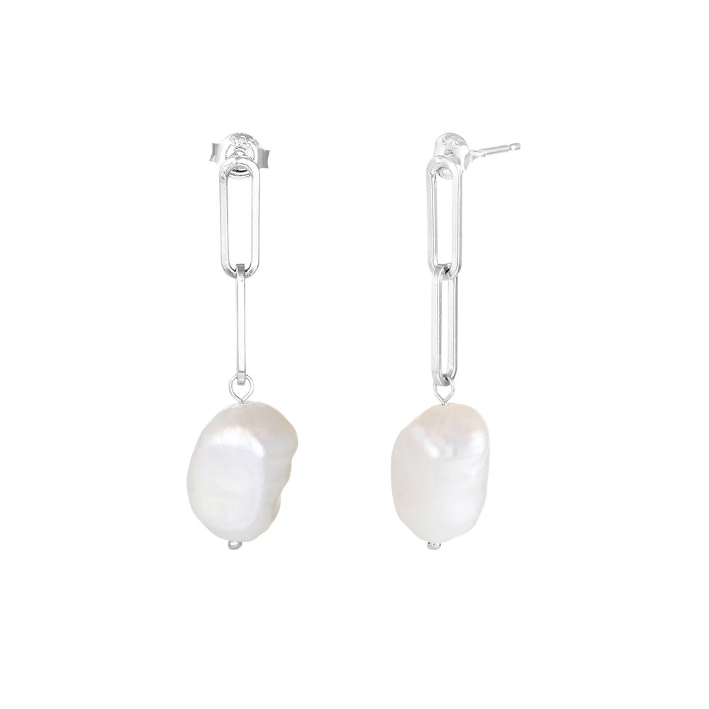 Here Comes the Bridesmaid - Link Earrings With Baroque Pearl in Sterling Silver - 1