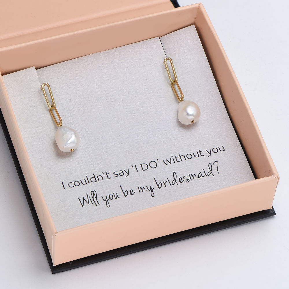 Here Comes the Bridesmaid - Link Earrings With Baroque Pearl in 18k Gold Plating