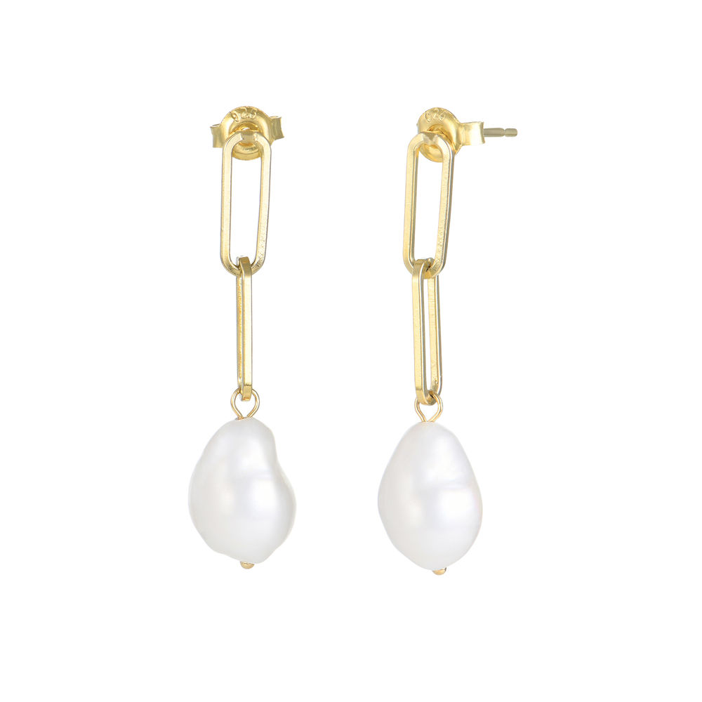 Here Comes the Bridesmaid - Link Earrings With Baroque Pearl in 18k Gold Plating - 1
