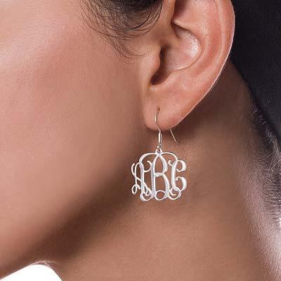 Silver Monogram Earrings - 1