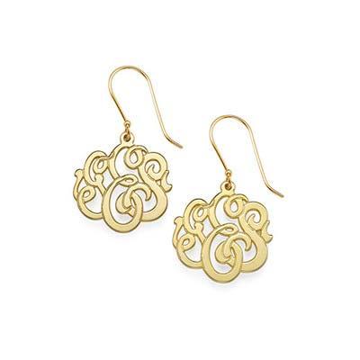 Premium Monogram Earrings 18k Gold Plated