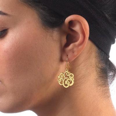 Premium Monogram Earrings 18k Gold Plated - 1