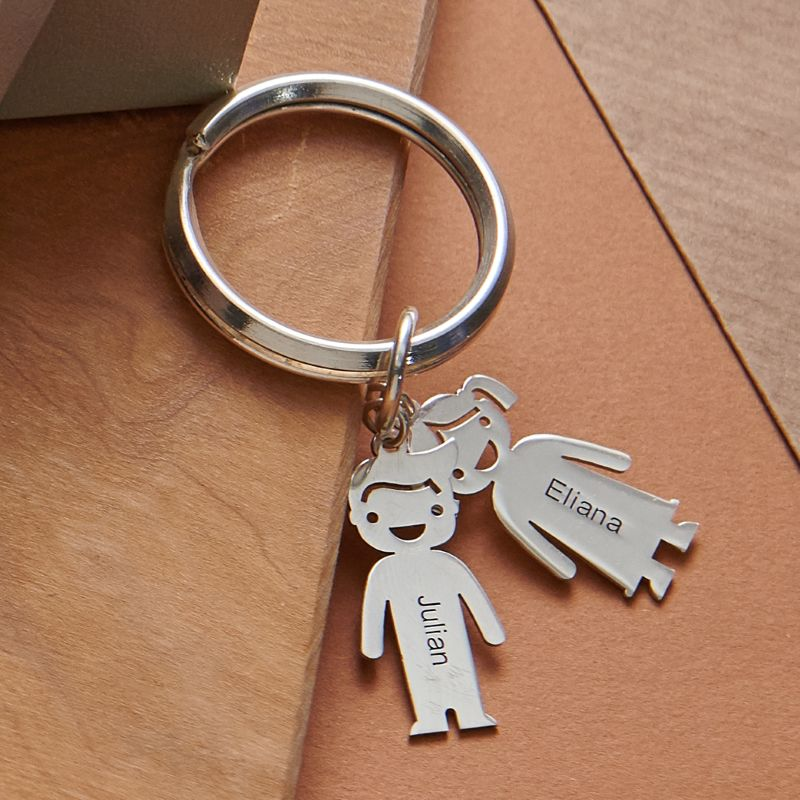 Personalized Keychain with Children Charms - 3