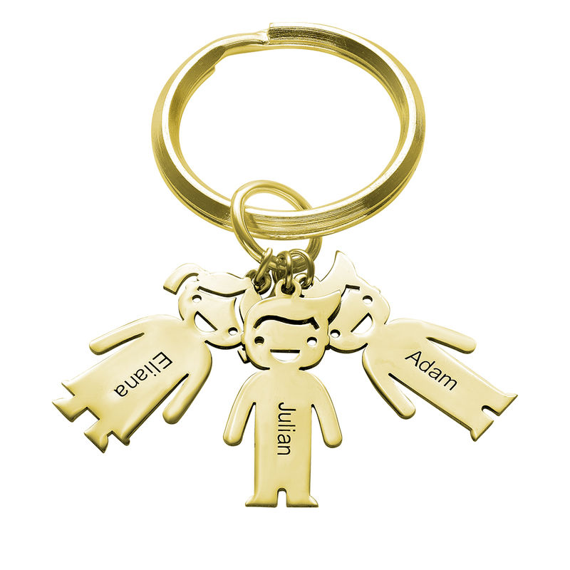 Personalized Keychain with Children Charms in Gold Plating