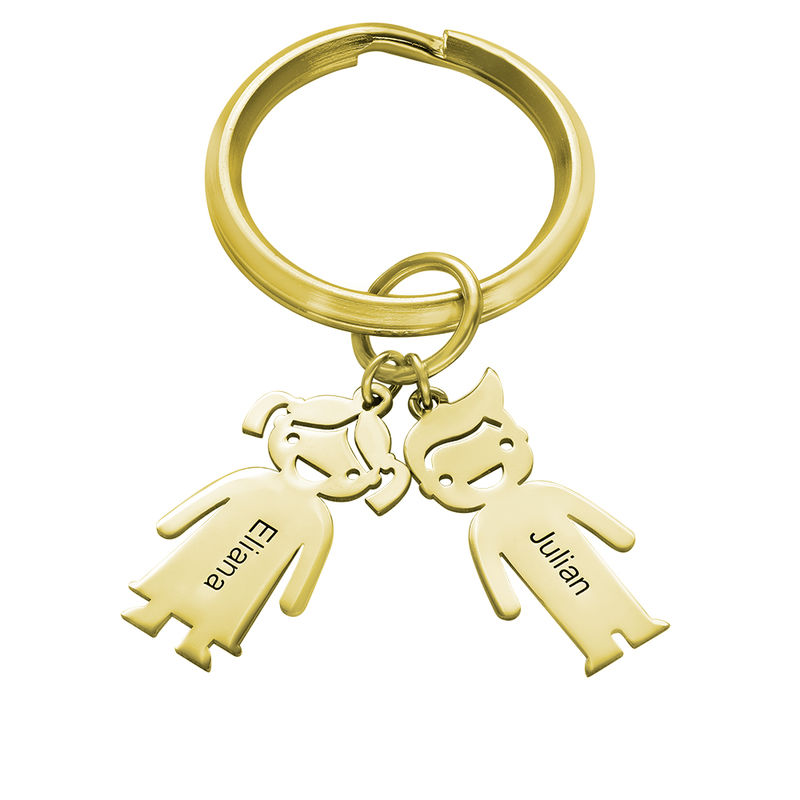 Personalized Keychain with Children Charms in Gold Plating - 1