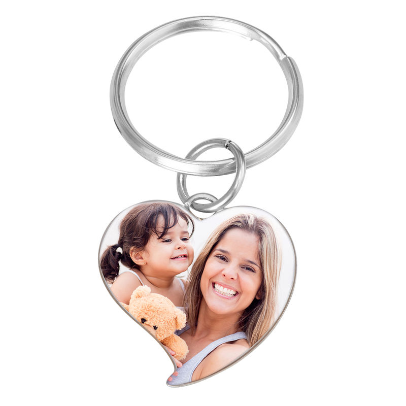 Engraved Photo Keychain - Heart Shaped