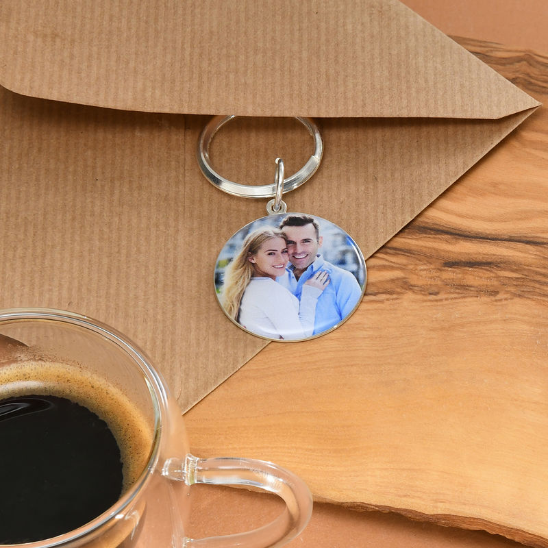 Engraved Round Photo Keychain in Sterling Silver - 3