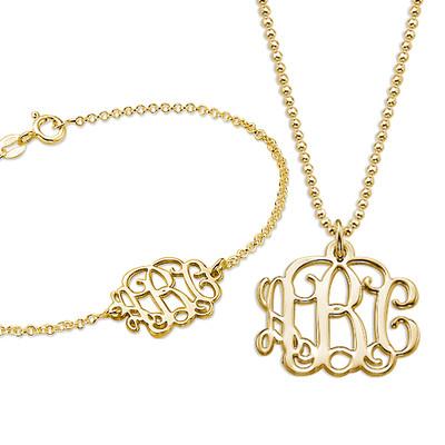 Mix and Match Monogram Necklace and Bracelet Set