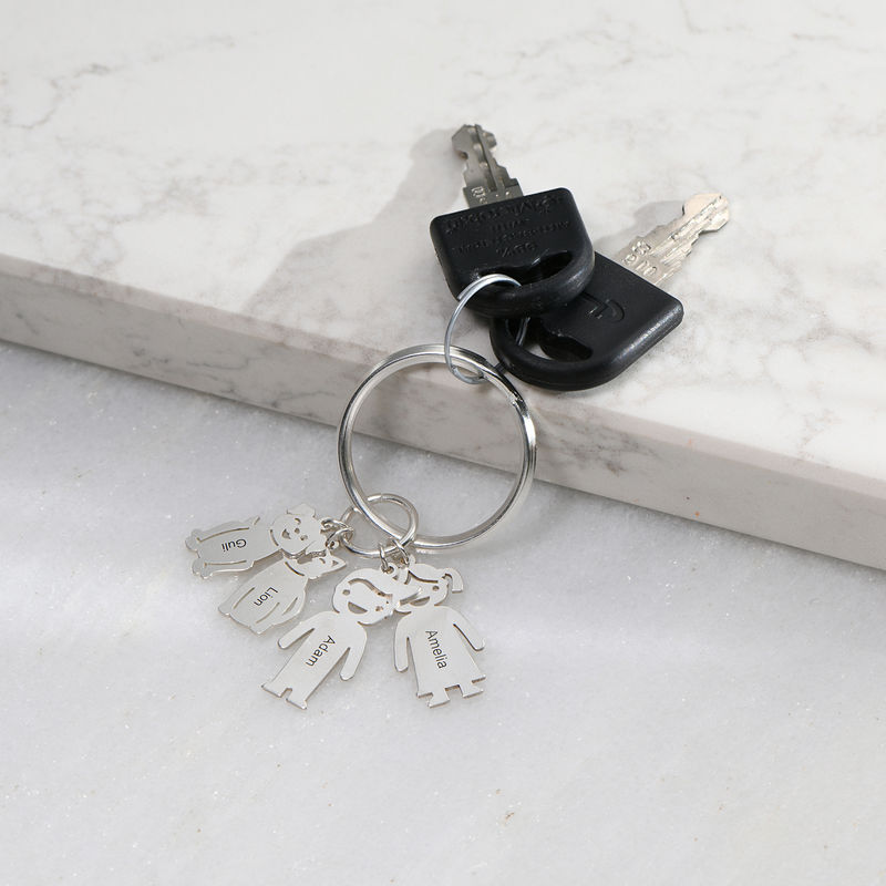 Custom Keychain with Engraved Kids and Pets Charms - 1