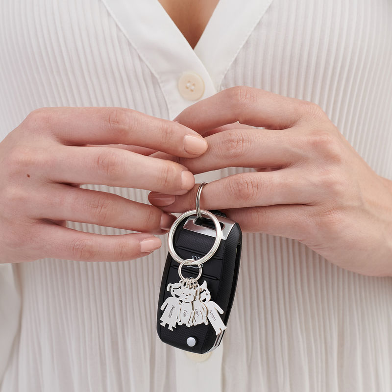 Custom Keychain with Engraved Kids and Pets Charms - 2