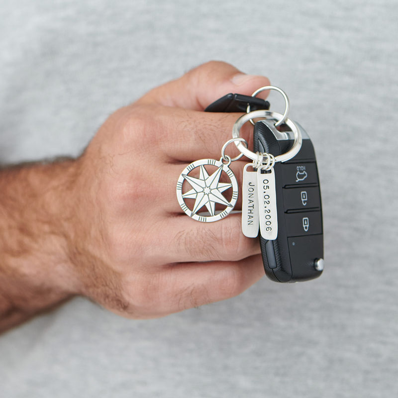 Custom Compass Keychain in Sterling Silver - 2