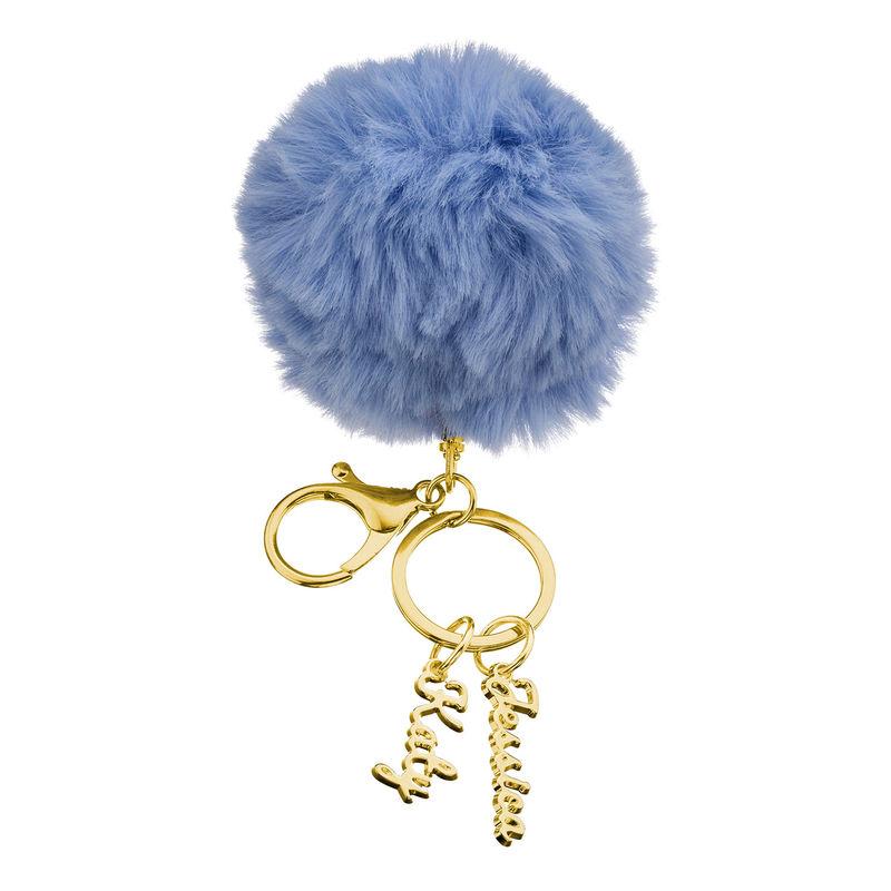 Custom Pom Pom Keychain in Gold Plated