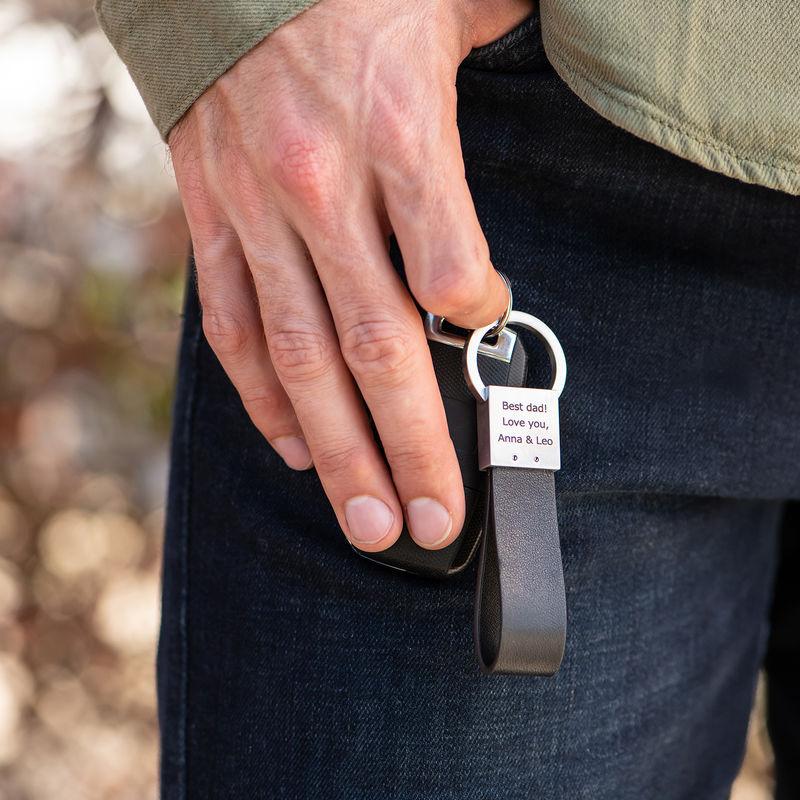 Custom Black Leather Strap Keychain - 1