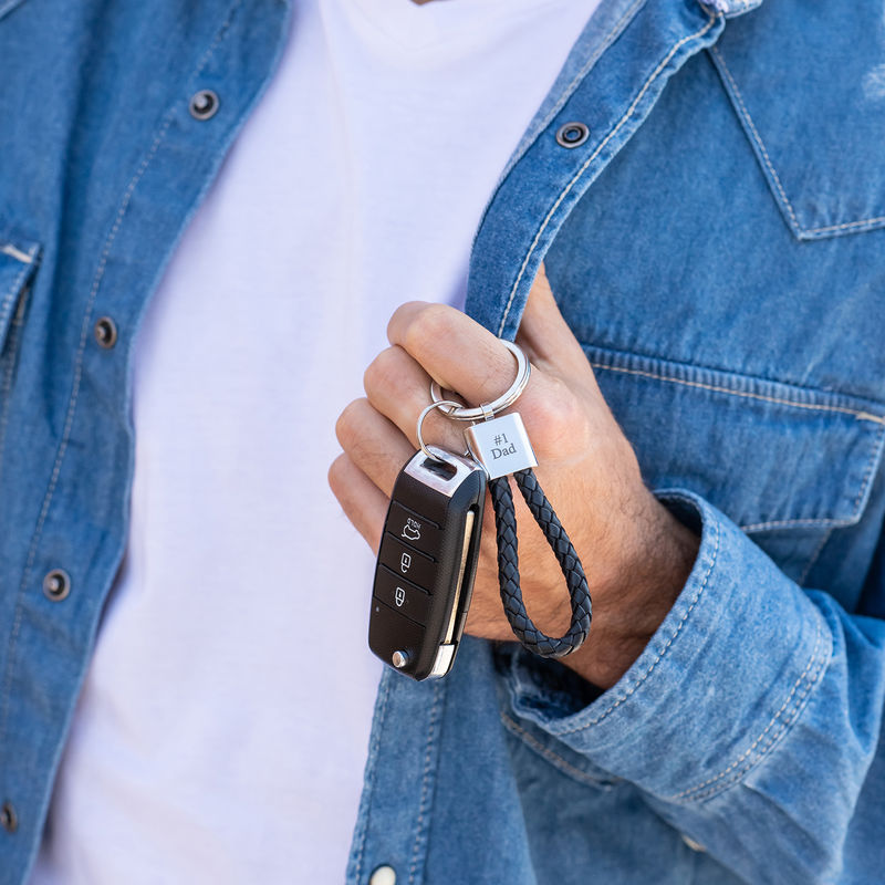 Engraved Black Leather Rope Keychain - 1