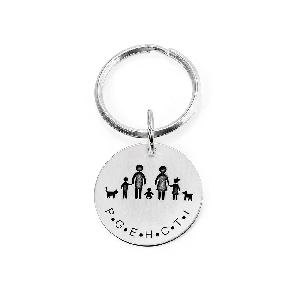 Custom Engraved Initials Keychain in Sterling Silver