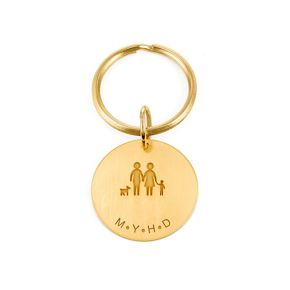 Custom Engraved Initials Keychain in Gold Plating
