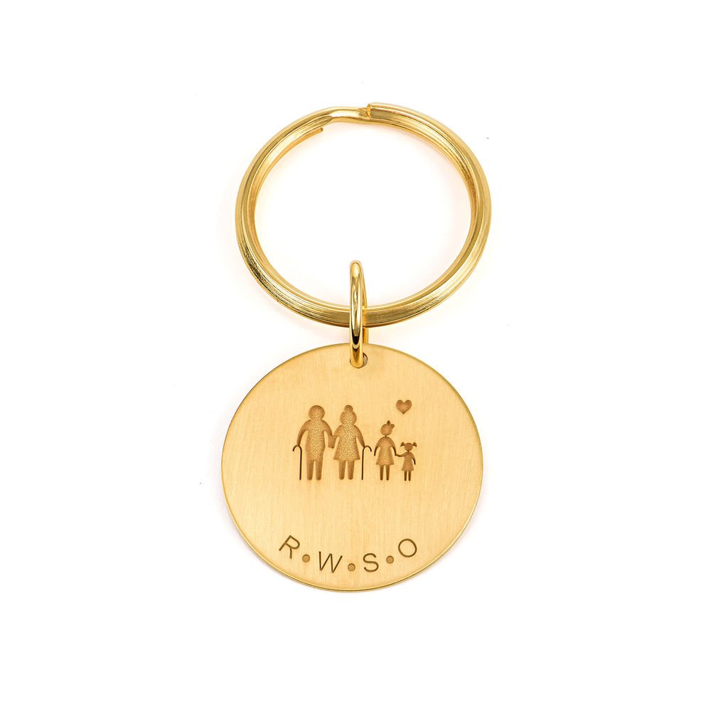 Custom Engraved Initials Keychain in Gold Plating - 1