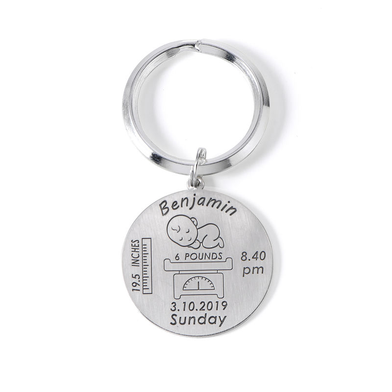 Personalized Engraved Baby Birth Keychain in Sterling Silver