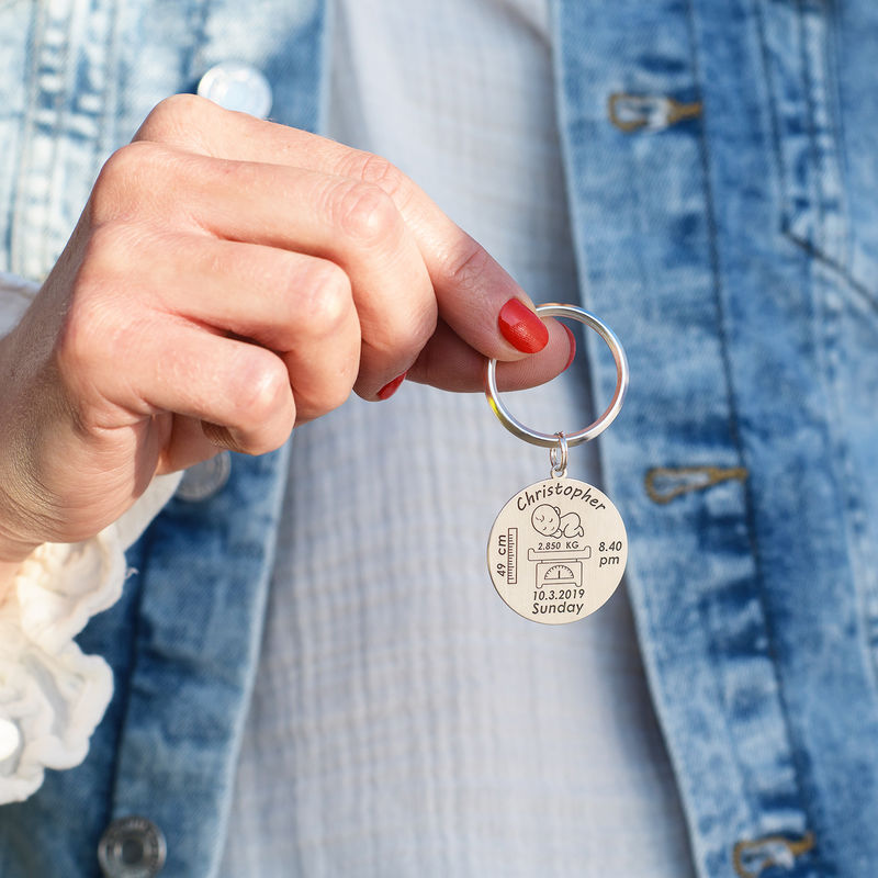 Personalized Engraved Baby Birth Keychain in Sterling Silver - 2