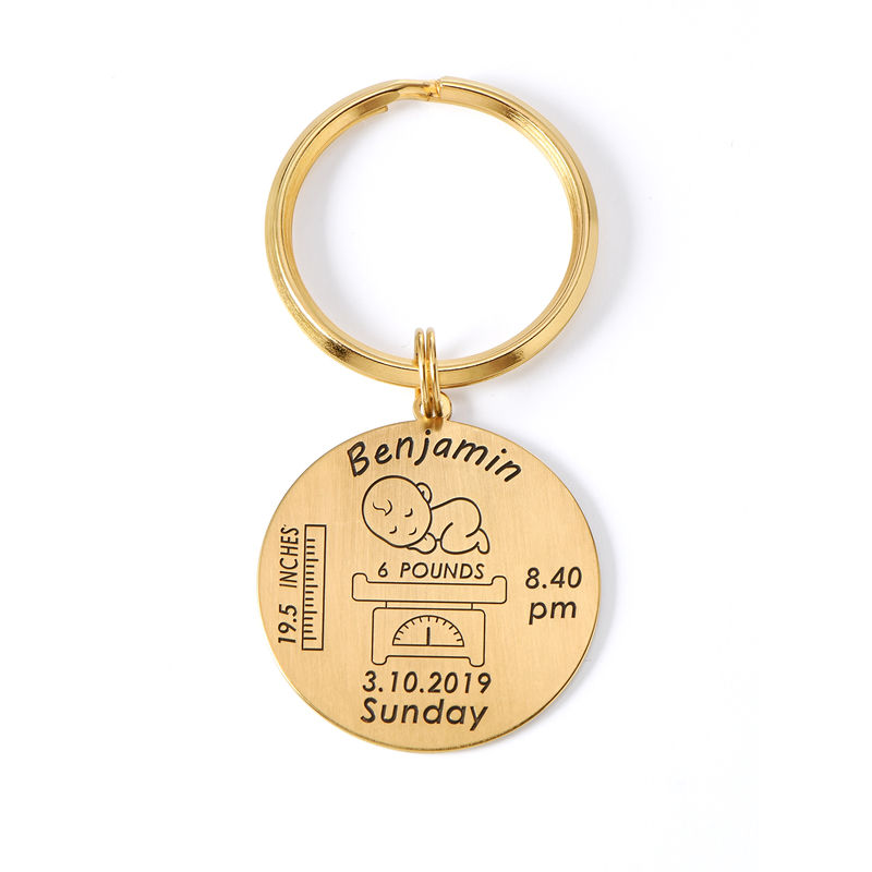 Personalized Engraved Baby Birth Keychain in 18K Gold Plating