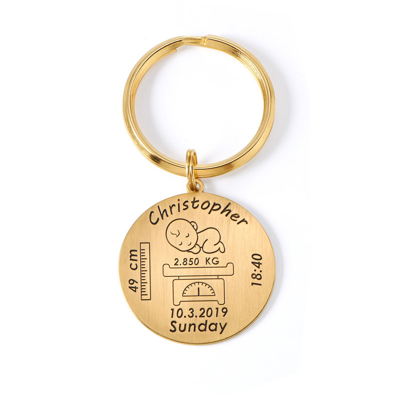 Personalized Engraved Baby Birth Keychain in 18K Gold Plating - 1