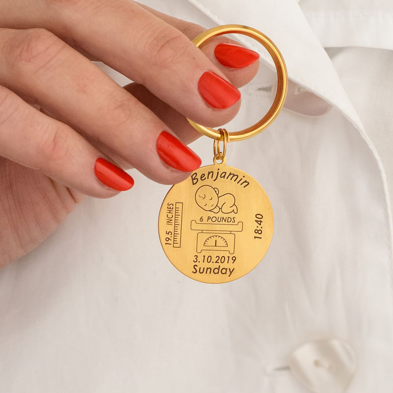 Personalized Engraved Baby Birth Keychain in 18K Gold Plating - 4
