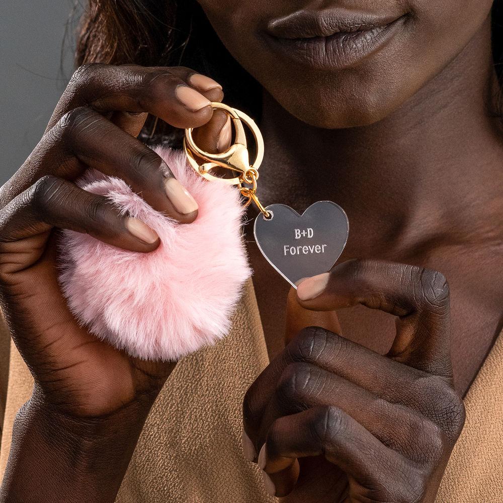 Custom Pom Pom Keychain & Heart Charm - 3