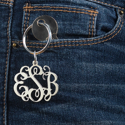 Sterling Silver Celebrity Monogram Keychain - 1