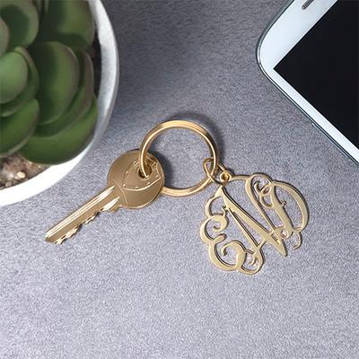 Celebrity Monogram Keychain - 18k Gold Plated - 1