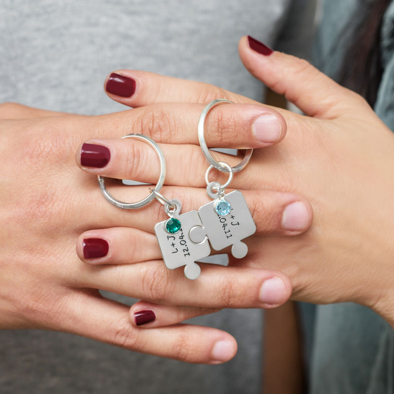Couple's Puzzle Keychain Set with Crystal - 4