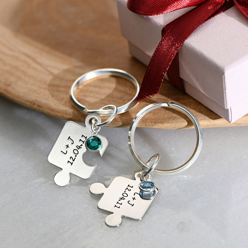 Couple's Puzzle Keychain Set with Crystal - 6