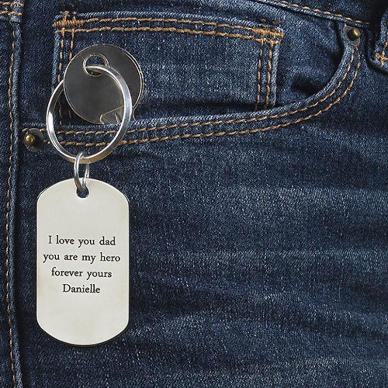 Engraved Dog Tag Keychain for Men - 3
