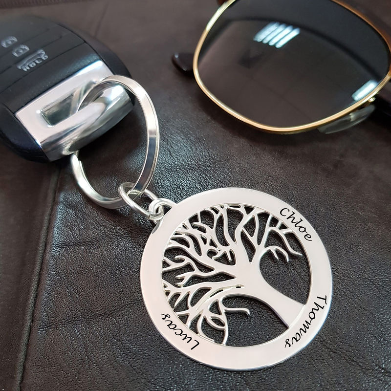 Personalized Family Tree Keychain in Sterling Silver - 2