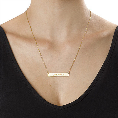 Layer it Up: Engraved Bar Necklace + Initial Necklace - 3