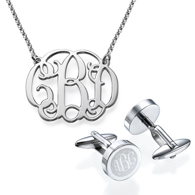For Him and Her: Monogram Cufflinks + Monogram Necklace