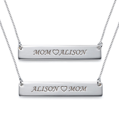 For Moms & Daughters: Engraved Nameplate Necklace Set