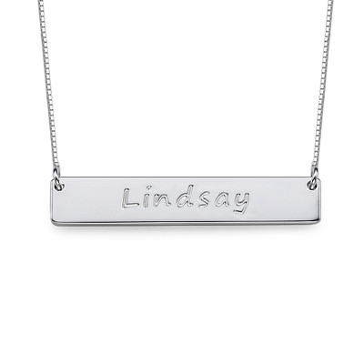 Layer it Up: Name Necklace + Engraved Bar Necklace - 2