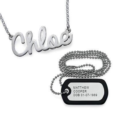 For Him and Her: Dog Tag Necklace + Name Necklace