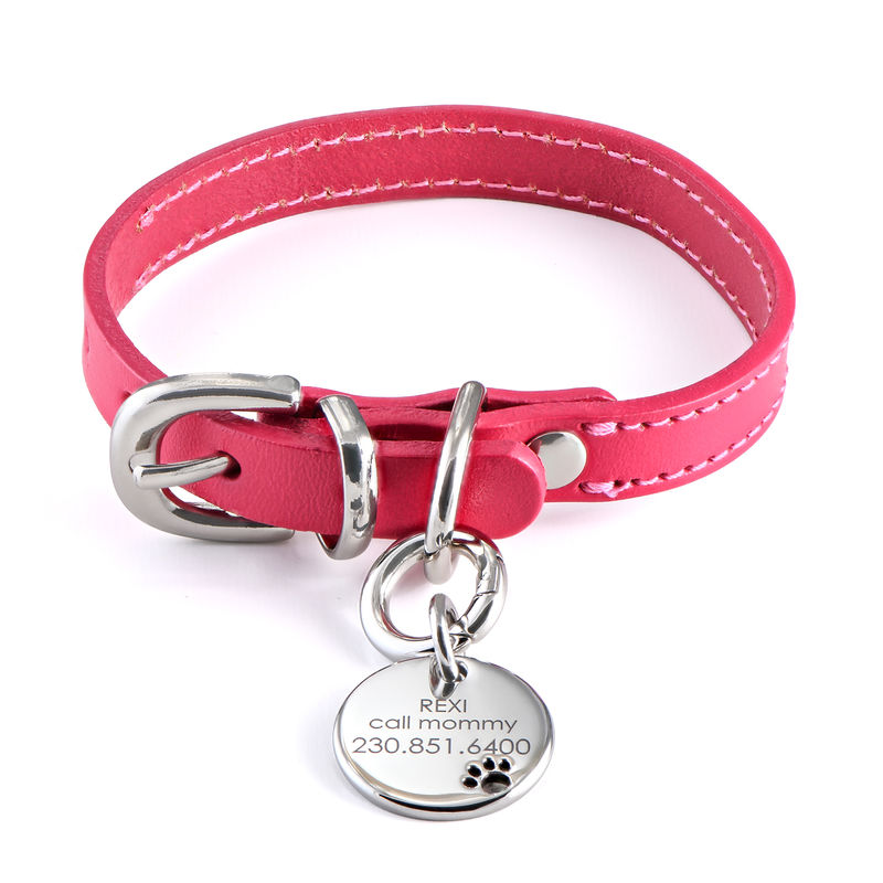 Engraved Cat or Dog Name Tag Leather Collar Round Shaped in Small